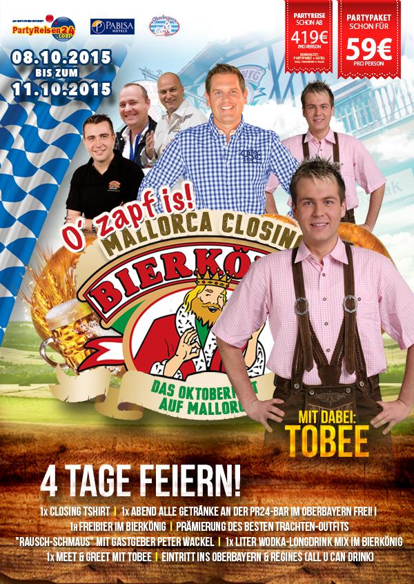 Partyreisen24 Mallorca Closing 2015 mit Tobee